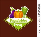 fresh vegetable emblem image  | Shutterstock .eps vector #635050904