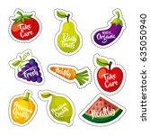 healthy organic vegetarian... | Shutterstock .eps vector #635050940