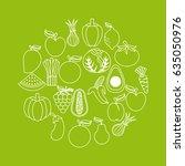 healthy organic vegetarian... | Shutterstock .eps vector #635050976