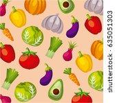 healthy organic vegetarian... | Shutterstock .eps vector #635051303