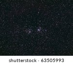 Open Double Cluster In Perseus - stock photo