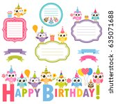 frames with owls for birthday... | Shutterstock .eps vector #635071688