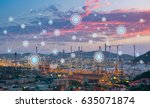 oil refinery at twilight with... | Shutterstock . vector #635071874