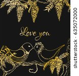love you postcard with two... | Shutterstock .eps vector #635072000