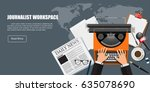 journalist workspace. | Shutterstock .eps vector #635078690