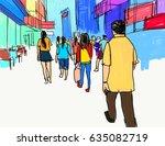 people walking marker... | Shutterstock . vector #635082719