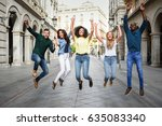 multi ethnic group of young... | Shutterstock . vector #635083340