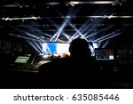 silhouette of worker control ... | Shutterstock . vector #635085446