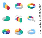 charts and graphs isometric... | Shutterstock .eps vector #635086280