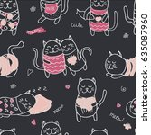 Stock vector seamless pattern with cute cartoon hand drawn cats on black background sweet heart and love theme 635087960