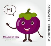 mangosteen vector icon cartoon... | Shutterstock .eps vector #635090390