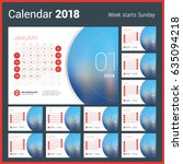 calendar for 2018 year. vector... | Shutterstock .eps vector #635094218