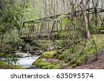 Metal Bridge Hidden In The Woods