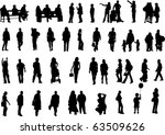 people silhouettes  vector  | Shutterstock .eps vector #63509626