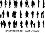 people silhouettes  vector  | Shutterstock .eps vector #63509629