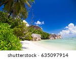 Stock photo beautiful tropical beach on anse source d argent beach la digue island seychelles 635097914