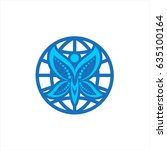 world vector icon with abstract ... | Shutterstock .eps vector #635100164