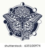 butterfly and vintage key... | Shutterstock .eps vector #635100974