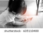asian child girls are addictive ... | Shutterstock . vector #635110400
