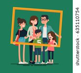 cool vector flat design family... | Shutterstock .eps vector #635110754
