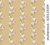 lily flower strip pattern.... | Shutterstock .eps vector #635115359