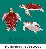 sea turtle hawksbill cartoon...   Shutterstock .eps vector #635119088