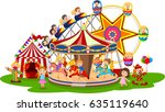 cartoon amusement park | Shutterstock .eps vector #635119640
