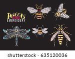 dragonfly  yellow fly  big... | Shutterstock .eps vector #635120036