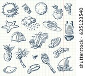 summer icon set sketch style.... | Shutterstock .eps vector #635123540