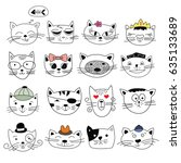 cats  set of cute doodle. can... | Shutterstock .eps vector #635133689