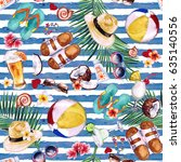 beach holiday. watercolor... | Shutterstock . vector #635140556