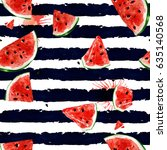 watermelon. watercolor seamless ... | Shutterstock . vector #635140568