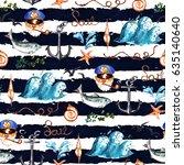 nautical. watercolor seamless...   Shutterstock . vector #635140640
