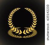 gold award laurel wreath with... | Shutterstock .eps vector #635142233