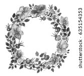 black and white flower wreath... | Shutterstock . vector #635154353