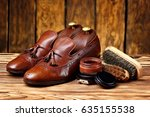 leather shoes brogues loafers... | Shutterstock . vector #635155538