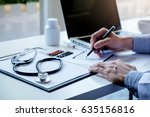 stethoscope with clipboard and... | Shutterstock . vector #635156816