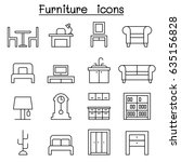 furniture icon set in thin line ... | Shutterstock .eps vector #635156828
