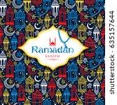 seamless pattern of ramadan... | Shutterstock .eps vector #635157644