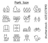 park icon set in thin line style | Shutterstock .eps vector #635157890