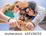 friends thumbs up. diversity... | Shutterstock . vector #635158253