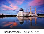 sunset scenery of kota kinabalu ... | Shutterstock . vector #635162774