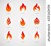raster version. fire icons set... | Shutterstock . vector #635163434