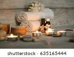 items for spa  towels and... | Shutterstock . vector #635165444