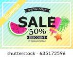 summer sale background design... | Shutterstock .eps vector #635172596