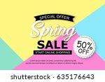 spring sale background design... | Shutterstock .eps vector #635176643