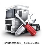 repair truck symbol and  wrench ... | Shutterstock . vector #635180558