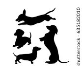 Black Silhouettes Of Dachshund...