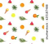 watercolor summer set with palm ... | Shutterstock . vector #635187488