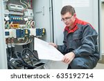 electrician with electric... | Shutterstock . vector #635192714